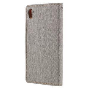 Canvas PU kožené/textilné puzdro pre mobil Sony Xperia XA - sivé - 2