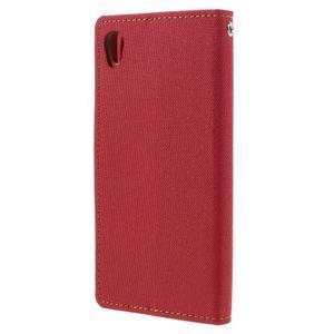 Canvas PU kožené/textilné puzdro pre mobil Sony Xperia XA - červené - 2