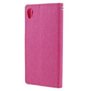 Canvas PU kožené/textilní pouzdro na mobil Sony Xperia XA - rose - 2