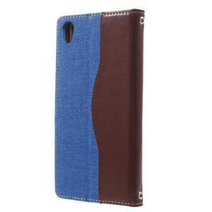 Jeansy PU kožené/textilné puzdro pre Sony Xperia XA - modré - 2