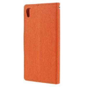 Canvas PU kožené/textilné puzdro pre mobil Sony Xperia XA - oranžové - 2