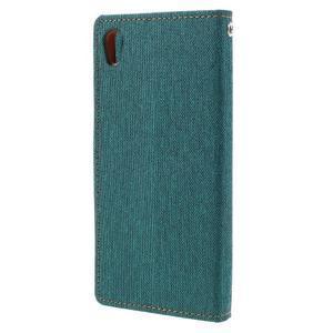Canvas PU kožené/textilní pouzdro na mobil Sony Xperia XA - zelenomodré - 2