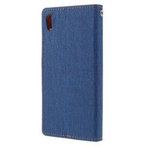 Canvas PU kožené/textilné puzdro pre mobil Sony Xperia XA - modré - 2