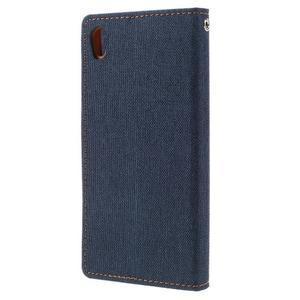 Canvas PU kožené/textilní pouzdro na mobil Sony Xperia XA - tmavěmodré - 2
