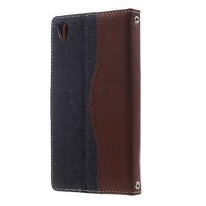 Jeansy PU kožené/textilné puzdro pre Sony Xperia XA - tmavomodré - 2