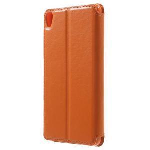 Royal PU kožené puzdro s okienkom na Sony Xperia XA - oranžové - 2