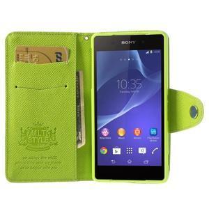 Stylové peněženkové pouzdro na Sony Xperia Z2 - zelené - 2