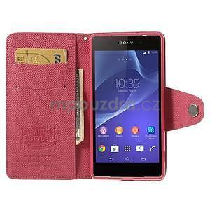 Štýlové Peňaženkové puzdro pre Sony Xperia Z2 - rose - 2