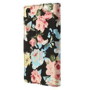 kvetinové puzdro pre mobil Sony Xperia Z2 - čierne - 2