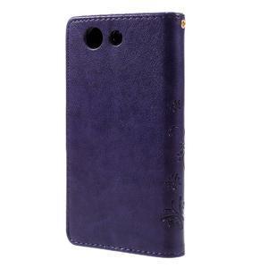 Butterfly PU kožené puzdro pre mobil Sony Xperia Z3 Compact - fialové - 2