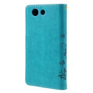 Butterfly PU kožené puzdro pre mobil Sony Xperia Z3 Compact - modré - 2