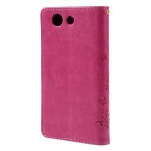 Butterfly PU kožené puzdro pre mobil Sony Xperia Z3 Compact - rose - 2