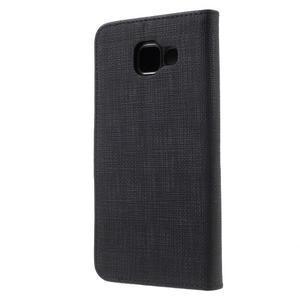 Cloth peňaženkové puzdro pre mobil Samsung Galaxy A3 (2016) - čierne - 2