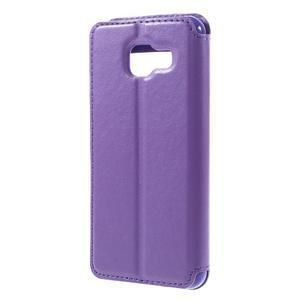 PU kožené puzdro s okienkom pre Samsung Galaxy A3 (2016) - fialové - 2