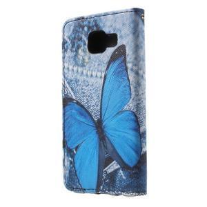 Fun peněženkové pouzdro na Samsung Galaxy A3 (2016) - modrý motýl - 2