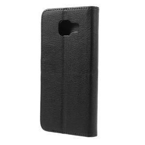 Liched koženkové puzdro pre Samsung Galaxy A3 (2016) - čierne - 2