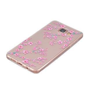 Slim průhledný gelový obal na Samsung Galax A3 (2016) - květy svěstky - 2