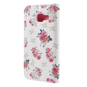 Standy peňaženkové puzdro pre Samsung Galaxy A3 (2016) - kvety - 2