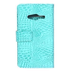 Croco peňaženkové puzdro pre Samsung Galaxy Trend 2 Lite - cyan - 2