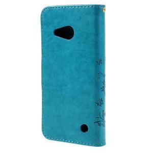 Butterfly koženkové puzdro na Microsoft Lumia 550 - modré - 2