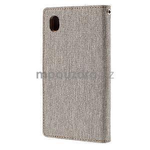 Canvas textilné/koženkové puzdro pre Sony Xperia M4 Aqua - sivé - 2