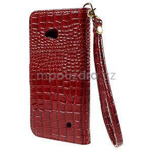 Croco peňaženkové puzdro s krokodílím motívom na Microsoft Lumia 640 - červené - 2