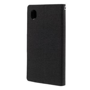Canvas textilné/koženkové puzdro pre Sony Xperia M4 Aqua - čierne - 2