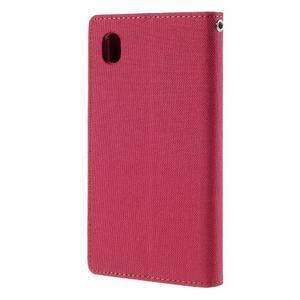 Canvas textilné/koženkové puzdro pre Sony Xperia M4 Aqua - červené - 2