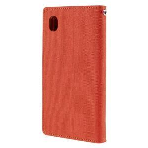 Canvas textilné/koženkové puzdro pre Sony Xperia M4 Aqua - oranžové - 2