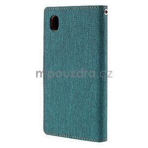 Canvas textilné / koženkové puzdro pre Sony Xperia M4 Aqua - zelenomodré - 2