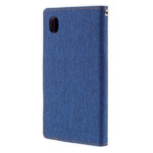Canvas textilní/koženkové pouzdro na Sony Xperia M4 Aqua - modré - 2