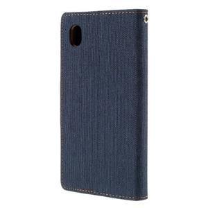 Canvas textilné/koženkové puzdro pre Sony Xperia M4 Aqua - tmavomodré - 2