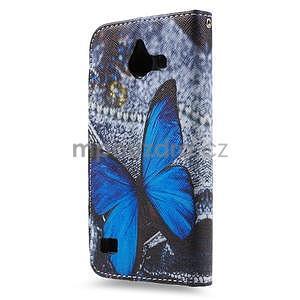 Štýlové puzdro na mobil Huawei Ascend Y550 - modrý motýľ - 2