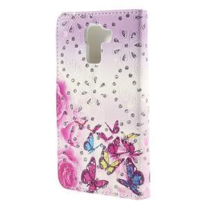 Peňaženkové puzdro s třpytivými flitry pre Huawei Honor 7 - květinoví motýlci - 2
