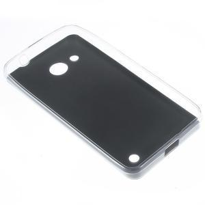 Gélový obal s jemnou koženkou na Microsoft Lumia 550 - čierný - 2
