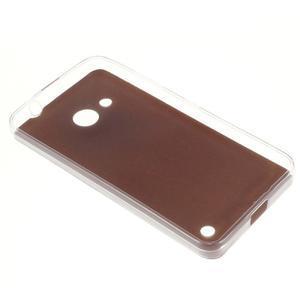 Gélový obal s jemnou koženkou na Microsoft Lumia 550 - zlatý - 2