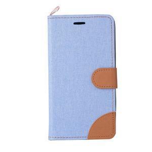 Jeans PU kožené/Textilné puzdro pre mobil Lenovo A6000 - svetlo modré - 2