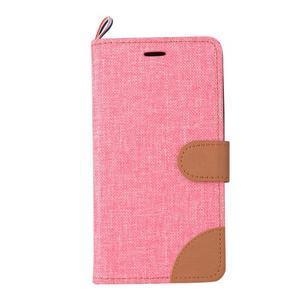 Jeans PU kožené/textilní puzdro na mobil Lenovo A6000 - růžové - 2