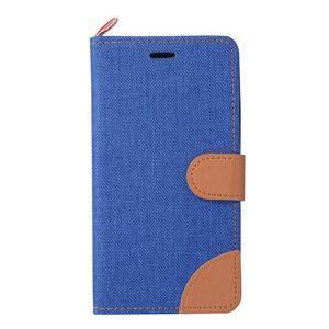 Jeans PU kožené/Textilné puzdro pre mobil Lenovo P70 - tmavo modré - 2