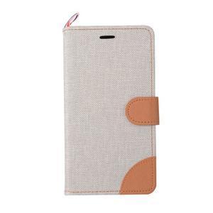 Jeans PU kožené/textilní puzdro na mobil Lenovo P70 - šedé - 2