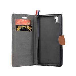 Jeans PU kožené/textilní puzdro na mobil Lenovo P70 - čierné - 2