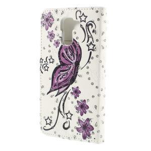 Peňaženkové puzdro s třpytivými flitry pre Huawei Honor 7 - nádherný motýl - 2