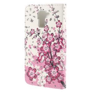Peňaženkové puzdro s třpytivými flitry pre Huawei Honor 7 - kvetoucí větvička - 2
