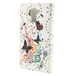Peňaženkové puzdro s třpytivými flitry pre Huawei Honor 7 - motýlci - 2