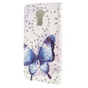 Peňaženkové puzdro s třpytivými flitry pre Huawei Honor 7 - modrý motýl - 2