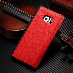 Breck peňaženkové puzdro na Samsung Galaxy S6 - červené/čierné - 2