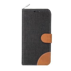 Jeans štýlové textilní/PU kožené puzdro na Samsung Galaxy S6 - čierné - 2
