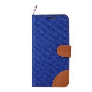 Jeans štýlové textilné/PU kožené puzdro pre Samsung Galaxy S6 - modré - 2