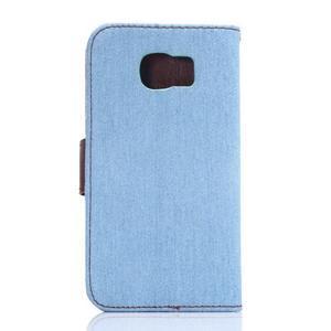 Cloth peňaženkové puzdro pre Samsung Galaxy S6 - svetlo modré - 2