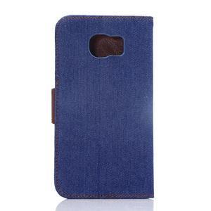 Cloth peňaženkové puzdro pre Samsung Galaxy S6 - tmavo modré - 2